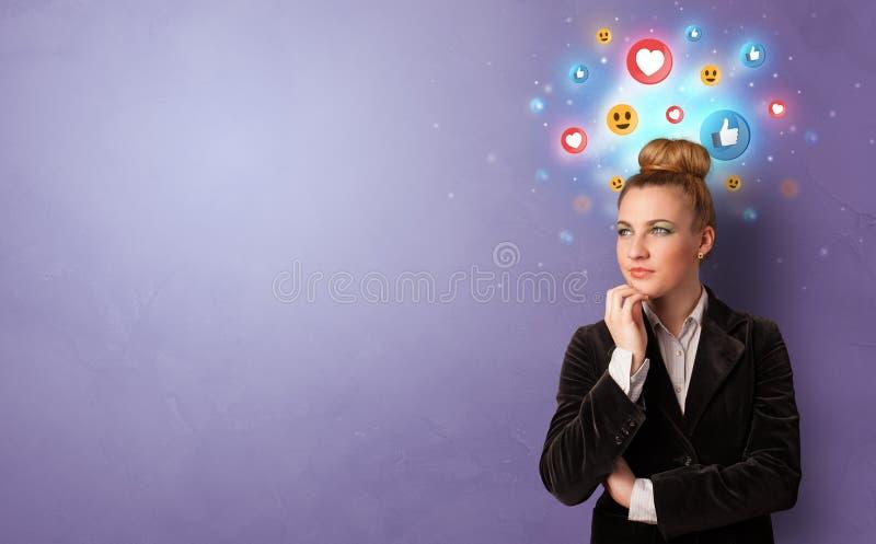 Situaci?n de la persona del negocio con concepto social de los medios foto de archivo libre de regalías