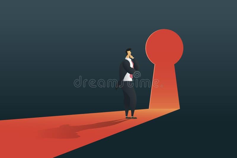 Situaci?n del hombre de negocios que piensa cerca de puerta del ojo de la cerradura en la pared del agujero en las ca?das ligeras fotos de archivo libres de regalías