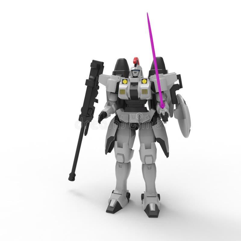 Situaci?n mech del soldado de la ciencia ficci?n en un fondo blanco Robot futurista militar con un verde y un metal gris del colo libre illustration