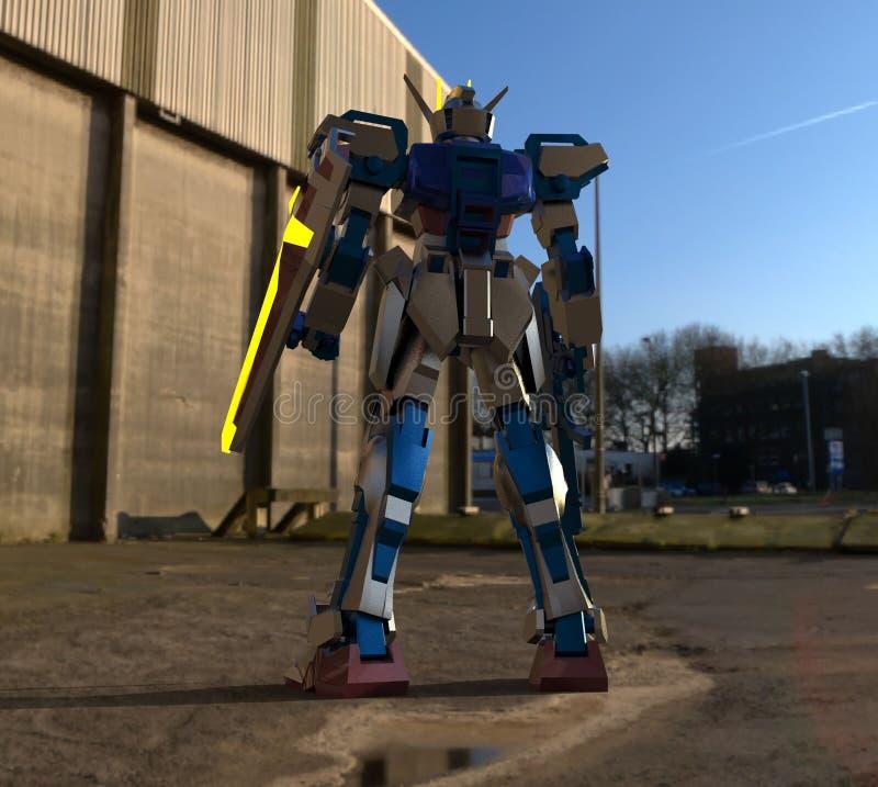 Situaci?n mech del soldado de la ciencia ficci?n en un fondo del paisaje Robot futurista militar con un verde y un metal gris del ilustración del vector
