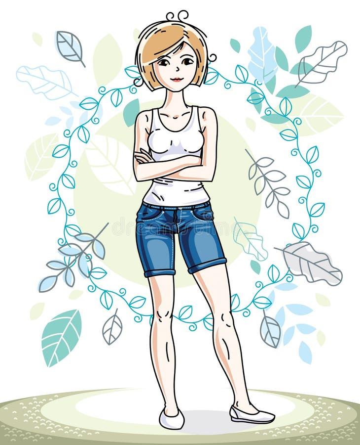 Situaci?n rubia joven bonita feliz de la mujer en el fondo del paisaje de la ecolog?a de la primavera con las hojas azules delica ilustración del vector