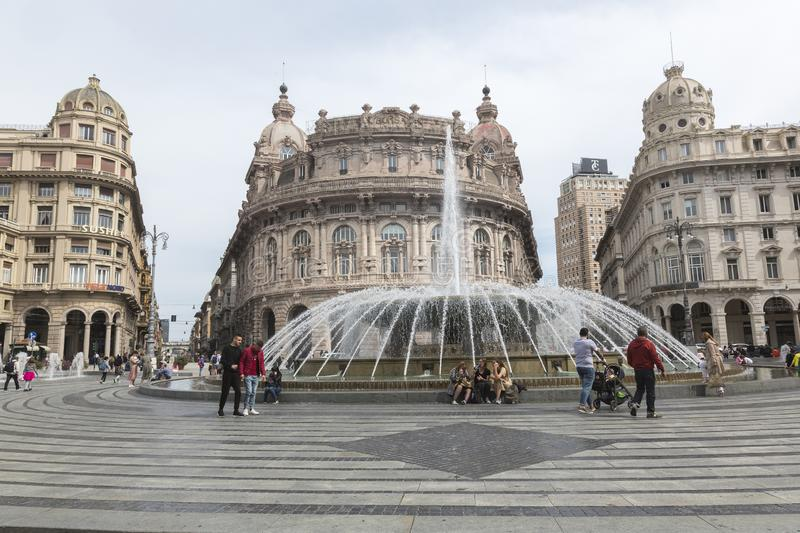 Piazza De Ferrari in Genova Italy. Situated in the heart of the city between the historical and the modern center, Piazza De Ferrari is renowned for its fountain stock images