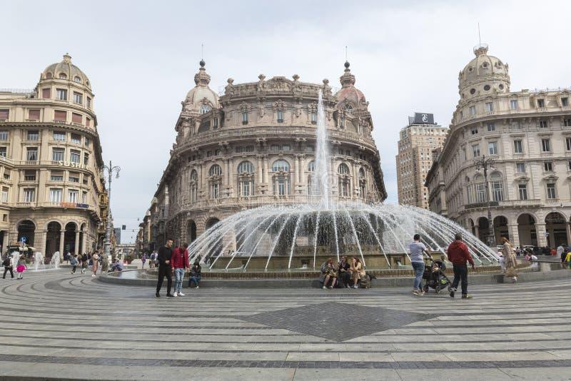 Piazza De Ferrari in Genova Italy stock images