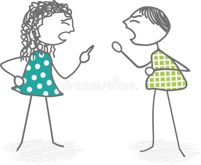 Situatie van conflict en geschil stock illustratie