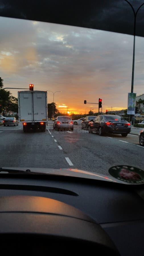 Situation de route de coucher du soleil photo libre de droits