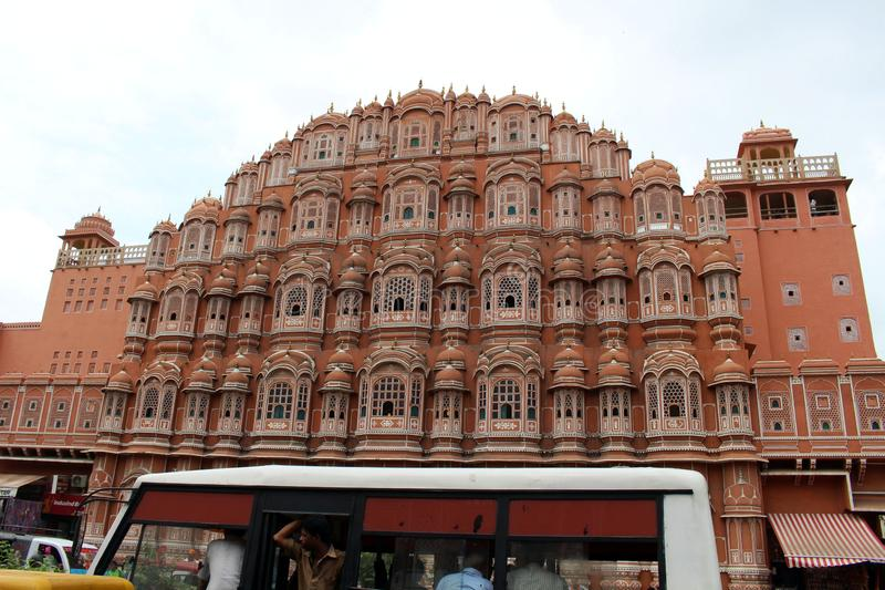 The crowded situation in front of Hawa Mahal, full of people and vehicles!. The crowded situation in front of Hawa Mahal, full of people and vehicles stock photo