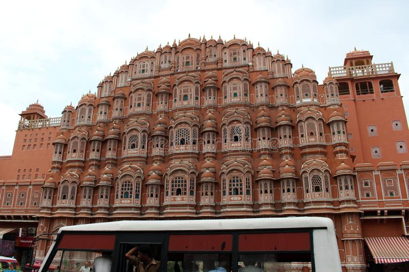 The situation in front of Hawa Mahal, crowded of people and vehicles. Taken in India, August 2018 royalty free stock photo