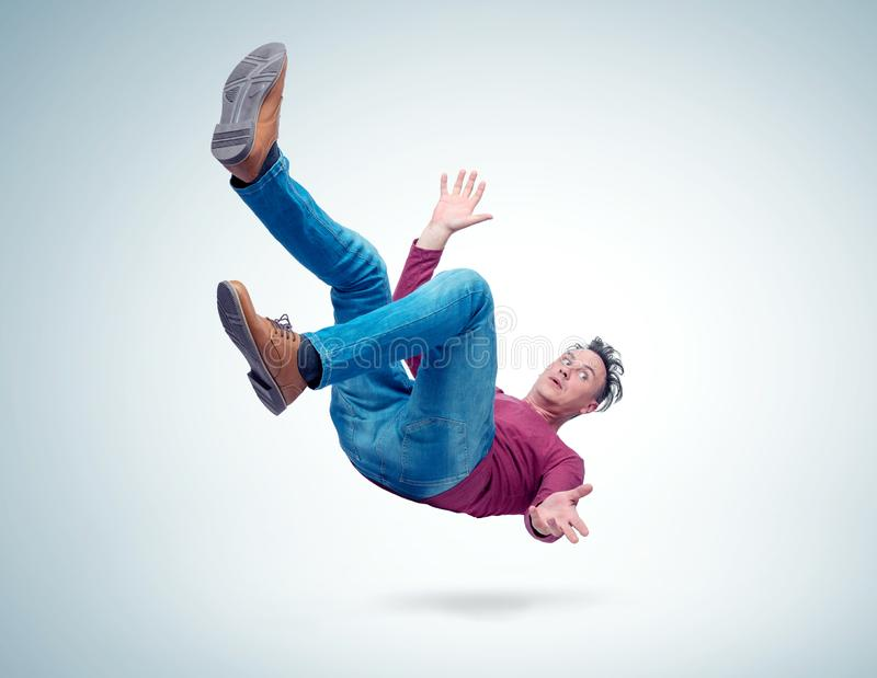Situation, the man is falling. Concept of an accident royalty free stock photography