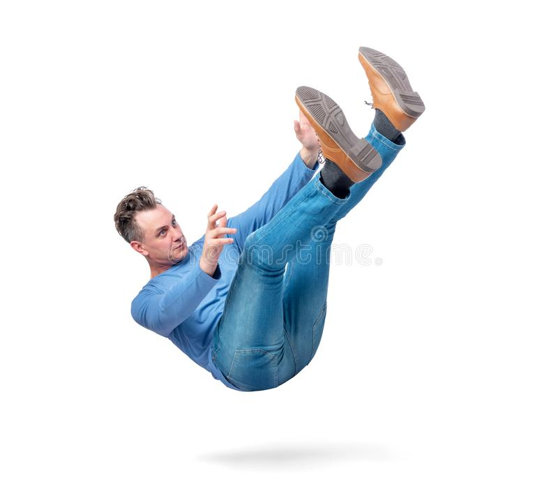 Situation, the man is falling. isolated on white background. Concept of an accident stock photography