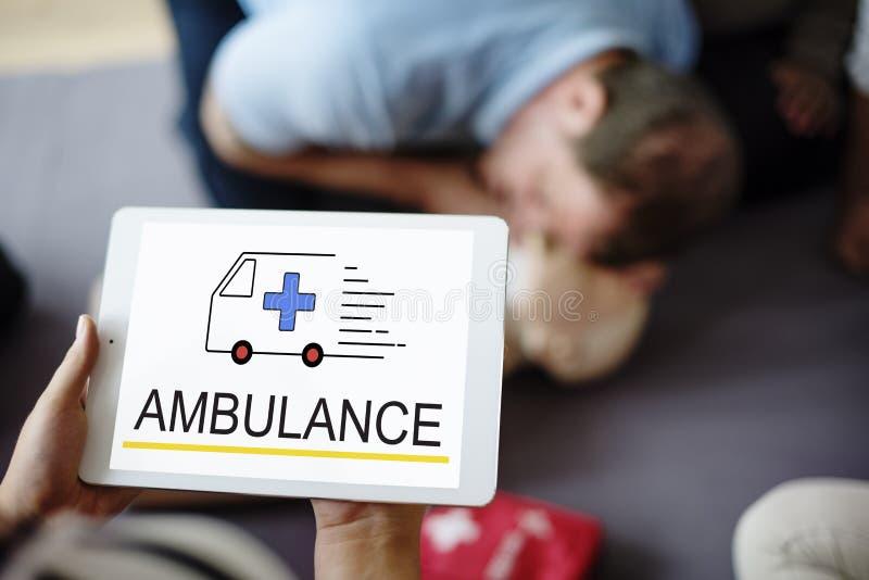 Situazione urgente di emergenza accidentale dell'ambulanza immagine stock
