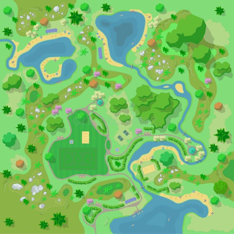 Situez le camp de paysage et de touriste d'amélioration dans la vue supérieure de forêt illustration stock