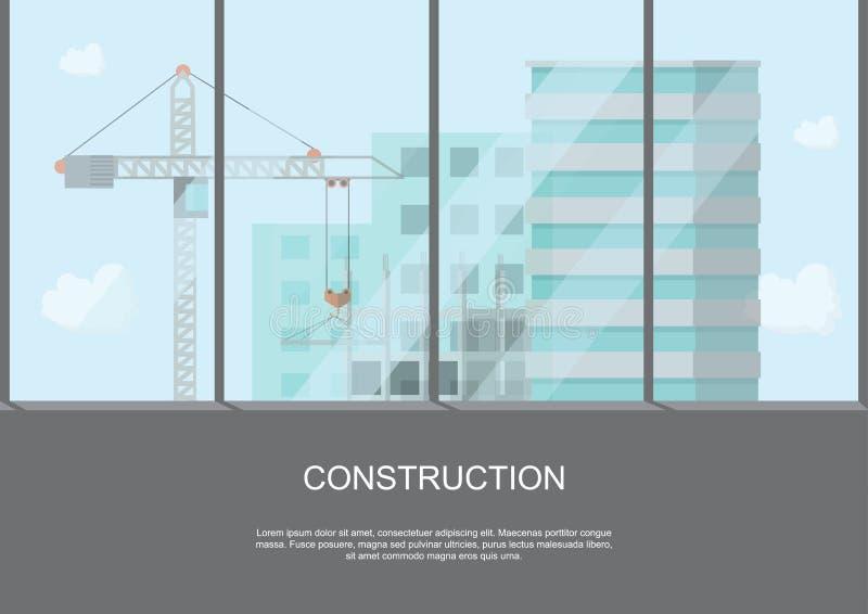 Situez le travail de processus en construction avec des grues et des machines dessus illustration libre de droits