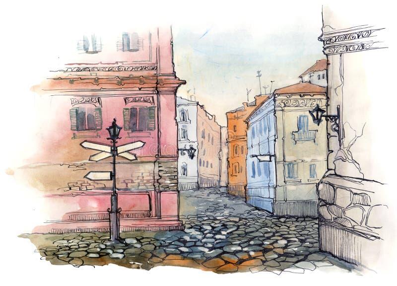 sity stara ulica ilustracji