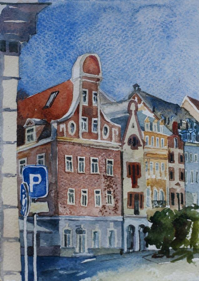 Sityscape del centro di Riga con il viaggio originale delle costruzioni medievali illustrazione vettoriale