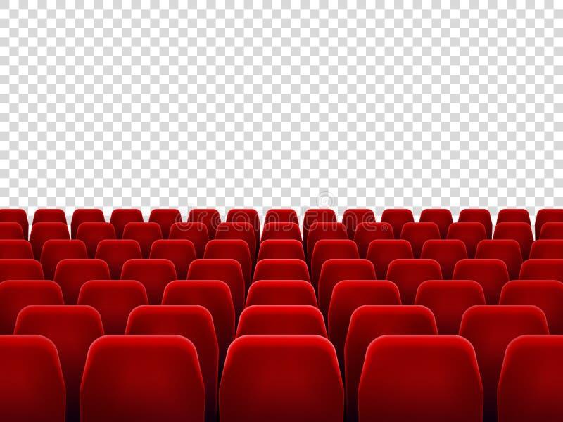 Sitze an der leeren Filmhalle oder am Sitzstuhl für Filmsiebungsraum Lokalisierte rote Lehnsessel für Kino, Theater oder Oper lizenzfreie abbildung