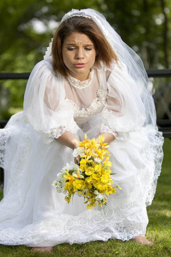 Sitzen gelassen Braut stockfoto