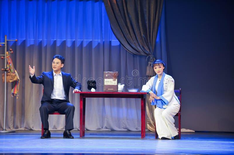 Sitzen Sie und plappern Sie über den Mantel Generals Prinzipjiangxi OperaBlue stockfotografie