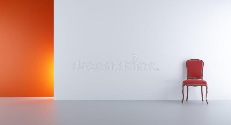 Sitzen Sie vor, um eine unbelegte Wand gegenüberzustellen stock abbildung