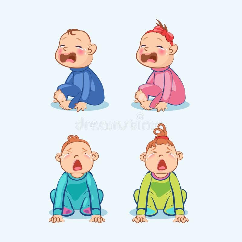 Sitzen und weit schreiend wenig Baby und Baby mit dem Mund offen stock abbildung