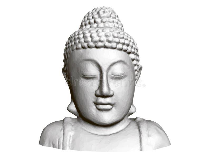 Sitzende Buddha-Abbildung Front View 3d Polygonale Statue von Buddha lizenzfreie abbildung