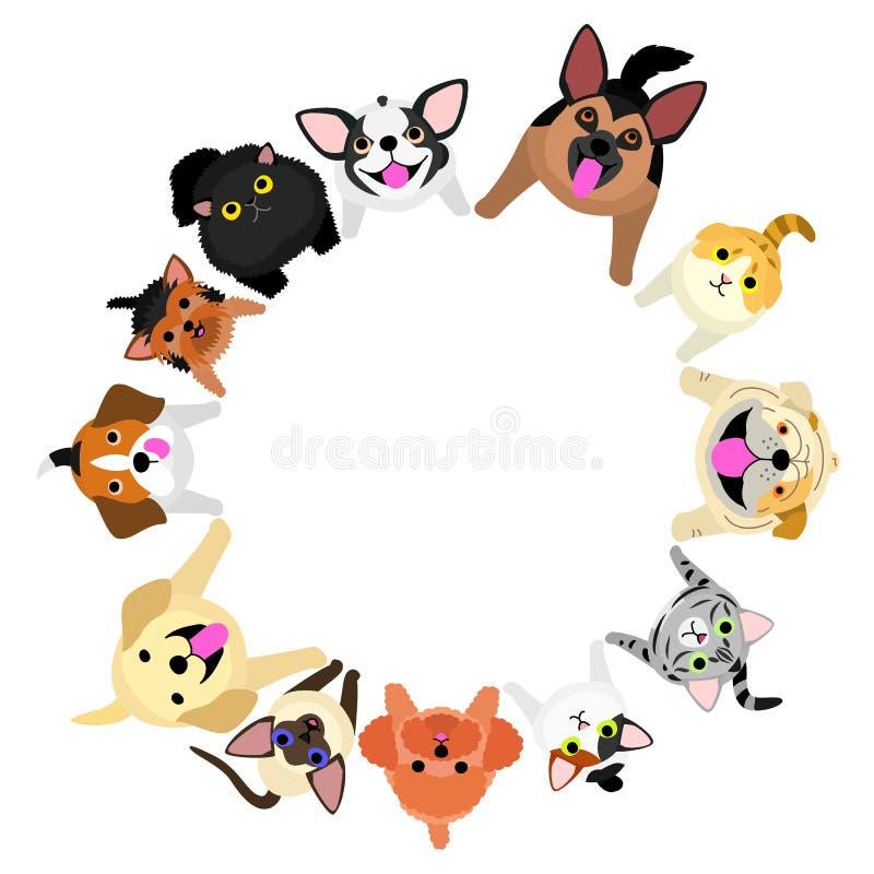 Sitzende Hunde und Katzen, die oben Kreis schauen stock abbildung