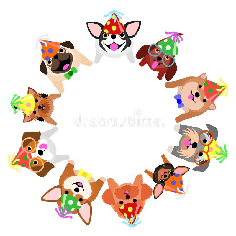 Sitzende kleine Hunde mit den Parteihüten, die oben Kreis schauen stock abbildung