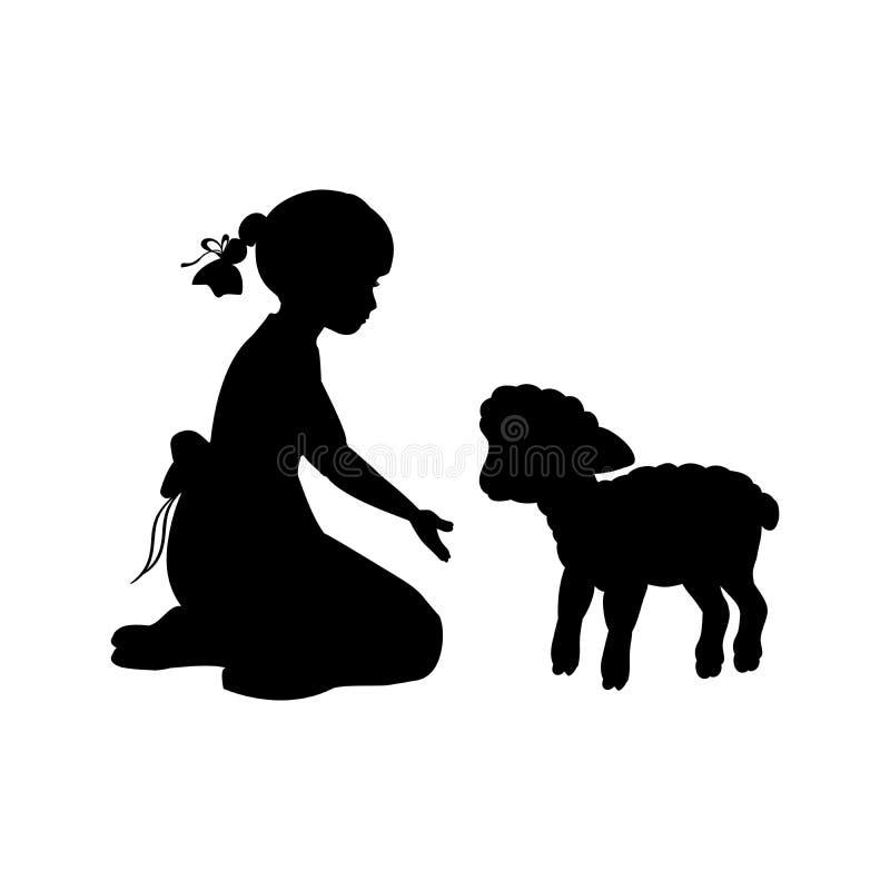 Sitzende Knie des Schattenbildmädchens winken Lamm zu lizenzfreie abbildung