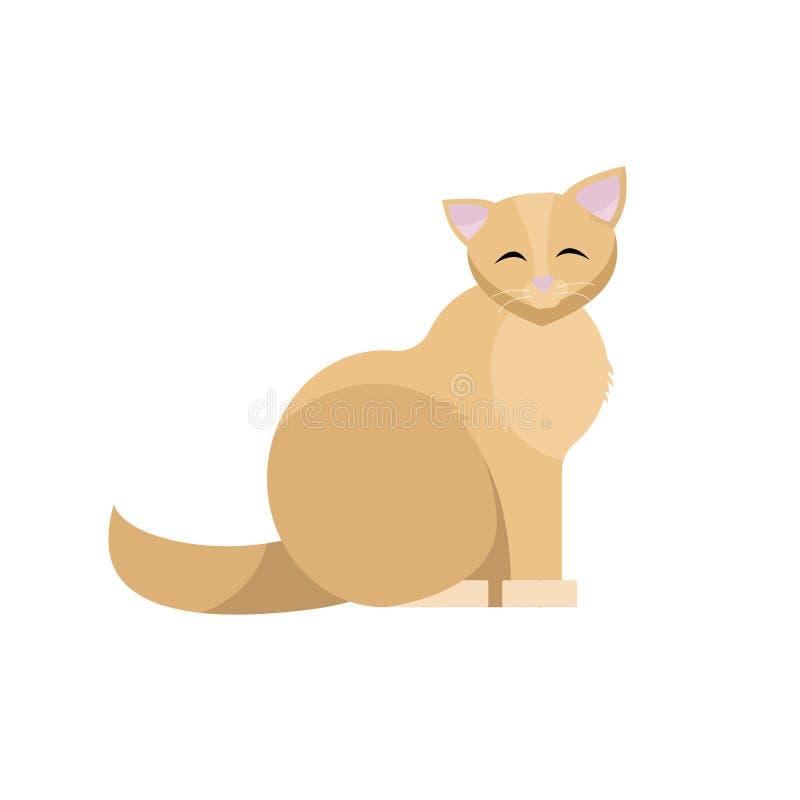 Sitzende nette Katze Lächelndes Karikatur-Vektor illustraton Biege-Miezekatze flaches lokalisiert auf weißem Hintergrund stock abbildung