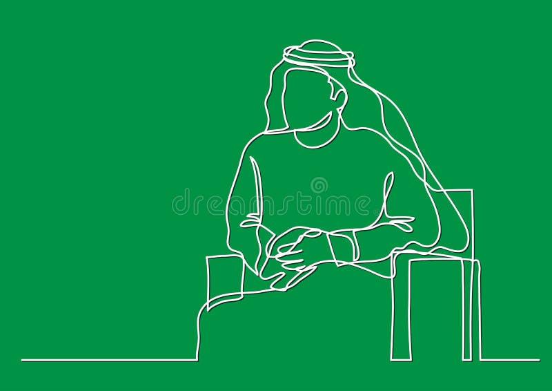 Sitzender arabischer Mann Mittleren Ostens im keffiyeh - Federzeichnung der einzelnen Zeile - Federzeichnung der einzelnen Zeile lizenzfreie abbildung