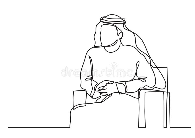 Sitzender arabischer Mann Mittleren Ostens im keffiyeh - Federzeichnung der einzelnen Zeile - Federzeichnung der einzelnen Zeile stock abbildung