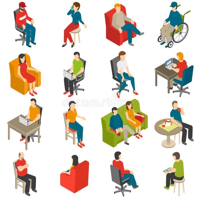 Sitzender Leute-isometrischer Ikonen-Satz stock abbildung