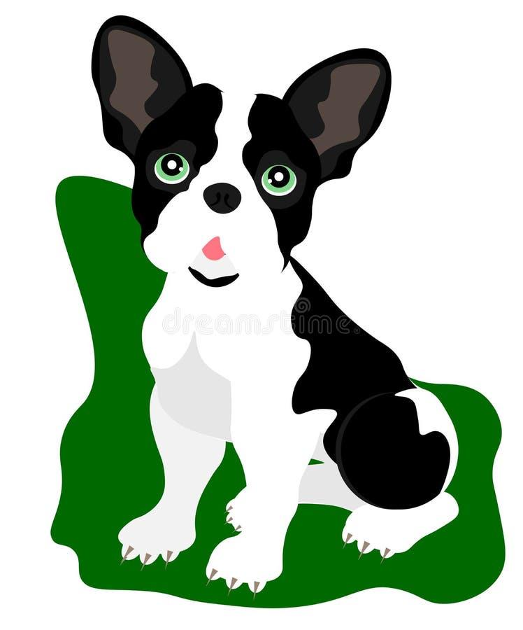 Sitzender Netzkarikaturwelpe, Porträt des netten kleiner Hundetragenden Kragens Hundefreund Auch im corel abgehobenen Betrag Loka vektor abbildung