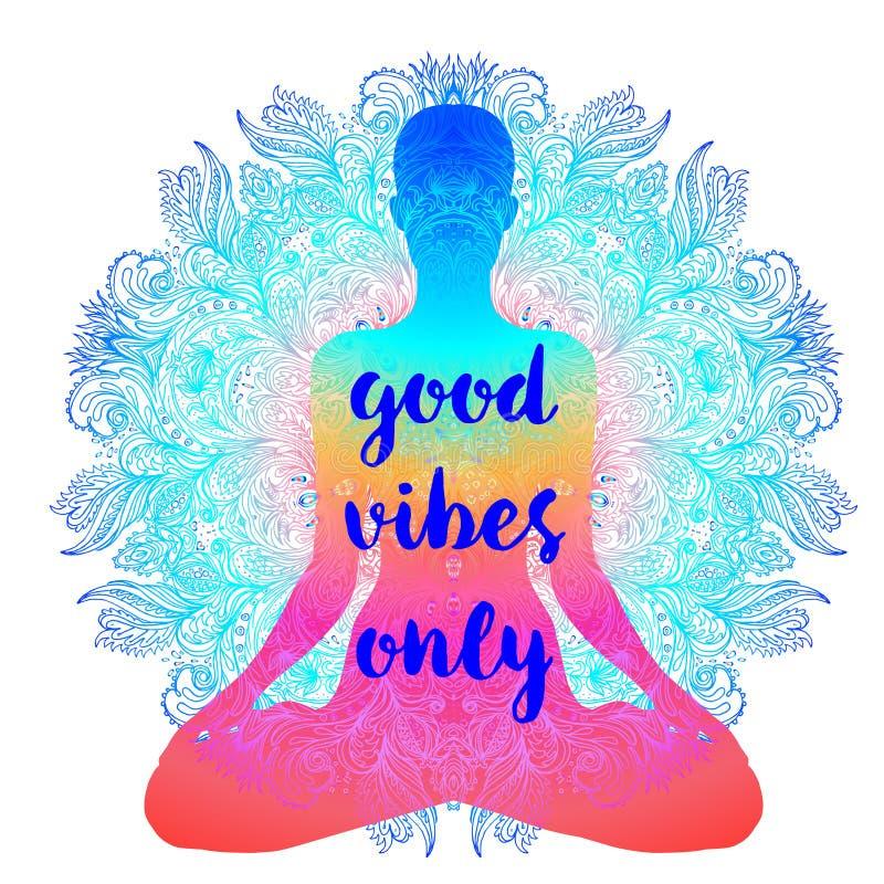 Sitzendes Buddha-Schattenbild Dekoratives illustratio Vektor der Weinlese stock abbildung