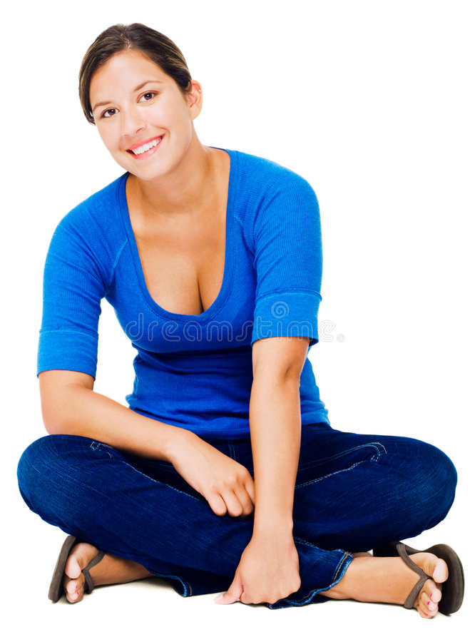 Sitzendes Frauenlächeln stockfotos