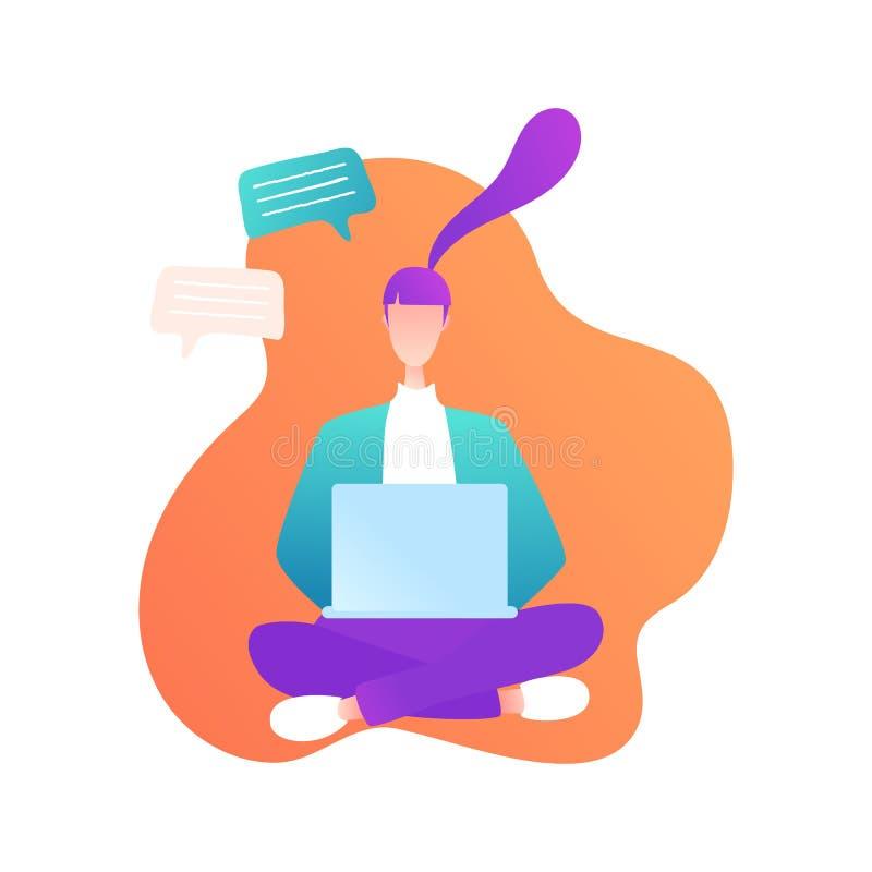 Sitzendes Mädchen mit Laptop in der modernen Art lizenzfreie abbildung