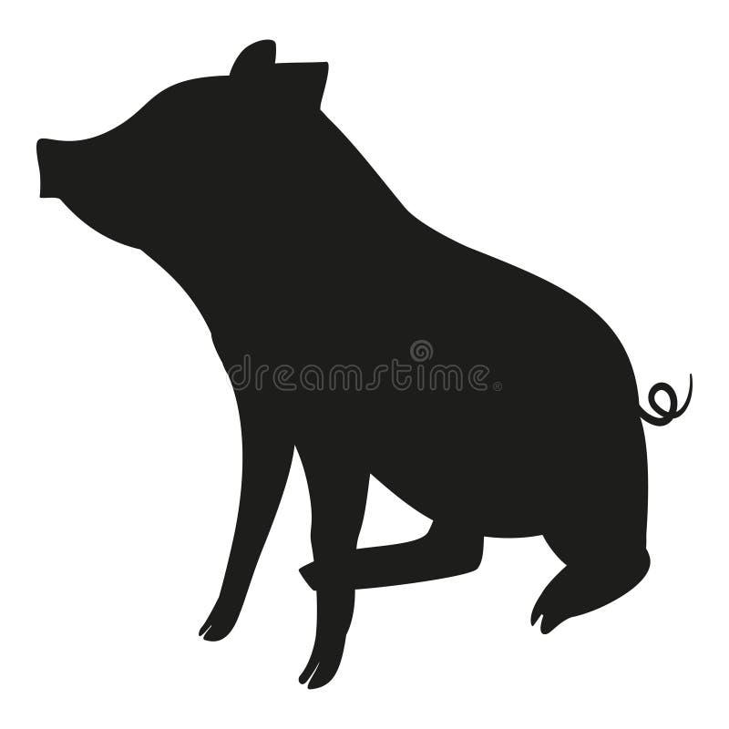 Sitzendes Schweinschwarzweiss-schattenbild vektor abbildung