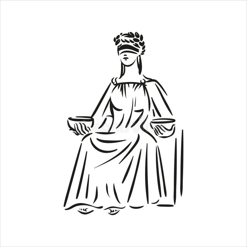Sitzendes Symbol der Gerechtigkeit Themis-Vektorlinie Kunstillustration auf weißem Hintergrund vektor abbildung