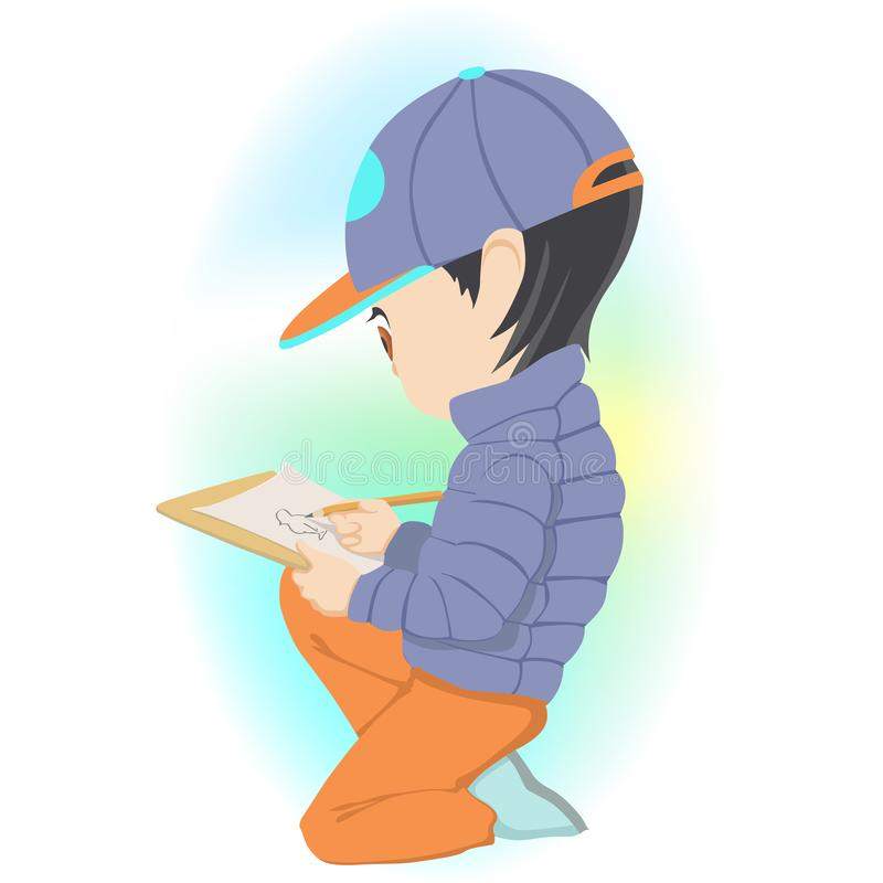 Sitzendes und zeichnendes Bild des kleinen Jungen auf Papier lizenzfreie abbildung