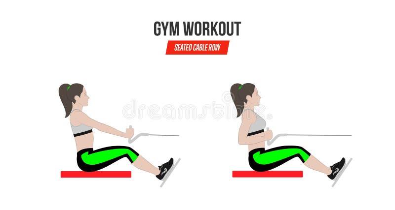 Sitzkabelreihe Athletische Übungen Übungen in einer Turnhalle workout Illustration eines aktiven Lebensstil Vektors lizenzfreie abbildung