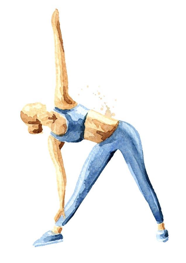 Sitzmädchen, das Training ausdehnend tut Konzepteignungssport Gezeichnete Illustration des Aquarells Hand, lokalisiert auf weißem lizenzfreie abbildung