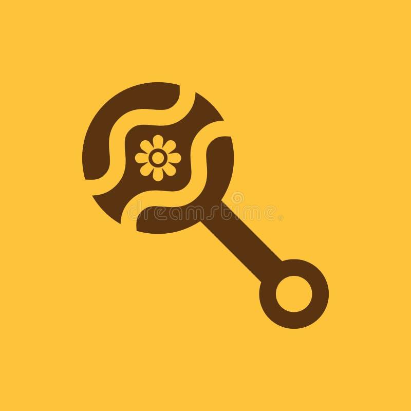 Sitzsackikone Entwurf Geklapper und maraca, Geklapper, Sitzsacksymbol web graphik ai app zeichen nachricht flach bild zeichen lizenzfreie abbildung