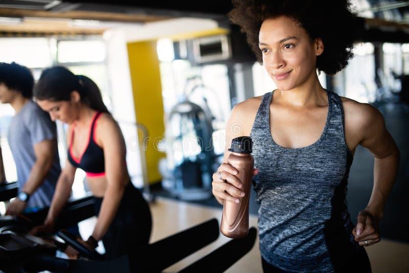 Sitzsportlerintrainieren und -training am Fitness-Club lizenzfreie stockfotos