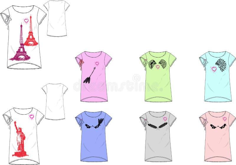 Sitzt-shirt Designdruckschablone Des Mädchens Kasten Dünne Stock ...