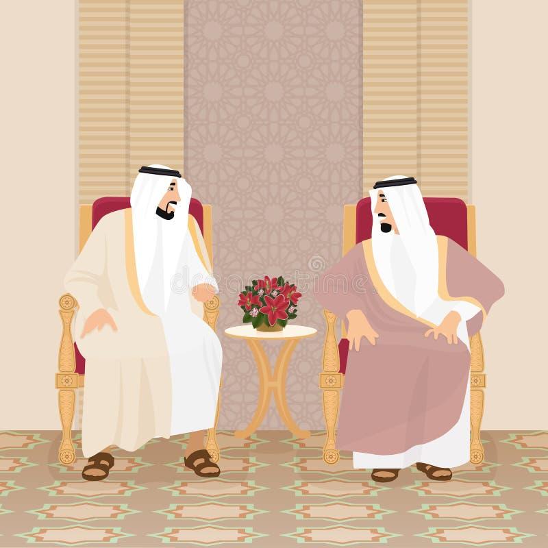 Sitzung der arabischen Könige der Scheiche lizenzfreie abbildung