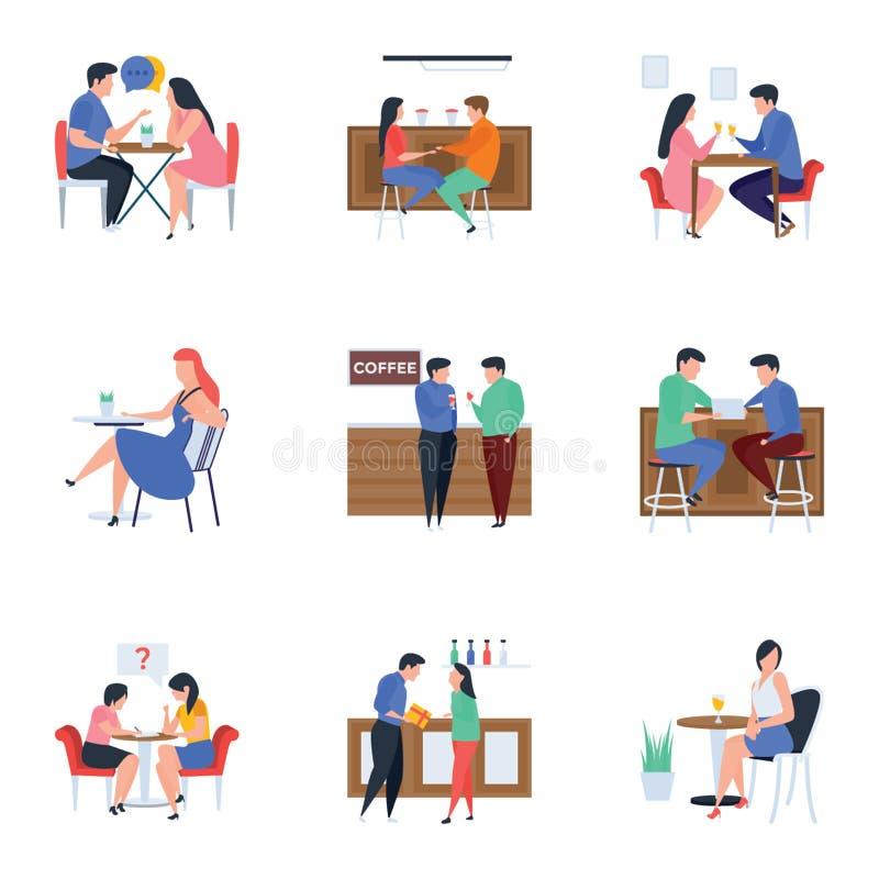 Sitzungen und Erfrischungs-flache Illustrationen verpacken lizenzfreie abbildung