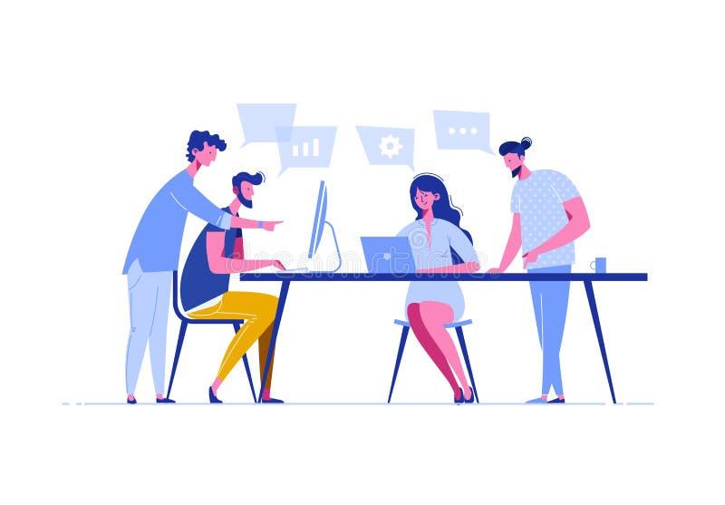 Sitzungsgeschäftsleute in einer flachen Art Team bespricht Soziales Netz, Nachrichten, Chat, Dialogspracheblasen nahe ihnen stock abbildung