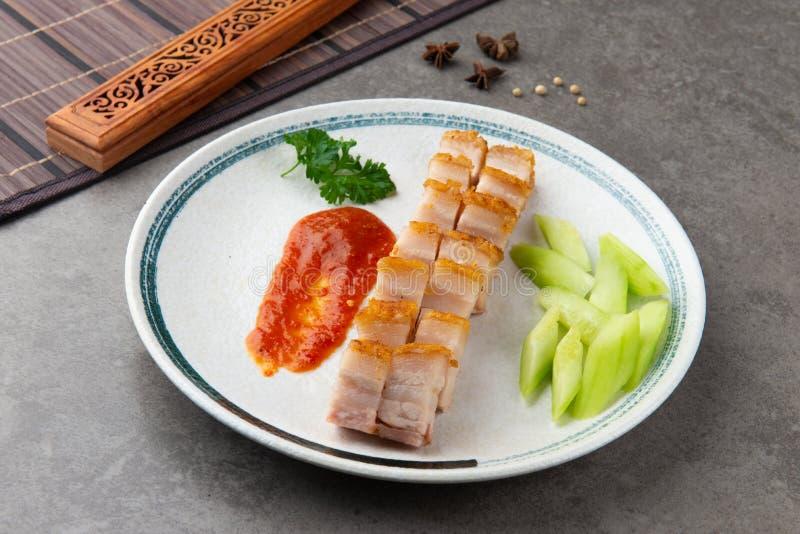 Siu Yuk lub crispy piec brzuch wieprzowiny Chiński styl obrazy royalty free