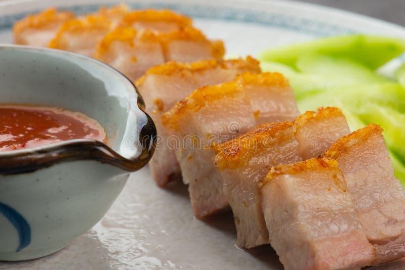 Siu Yuk lub crispy piec brzuch wieprzowiny Chiński styl obraz stock