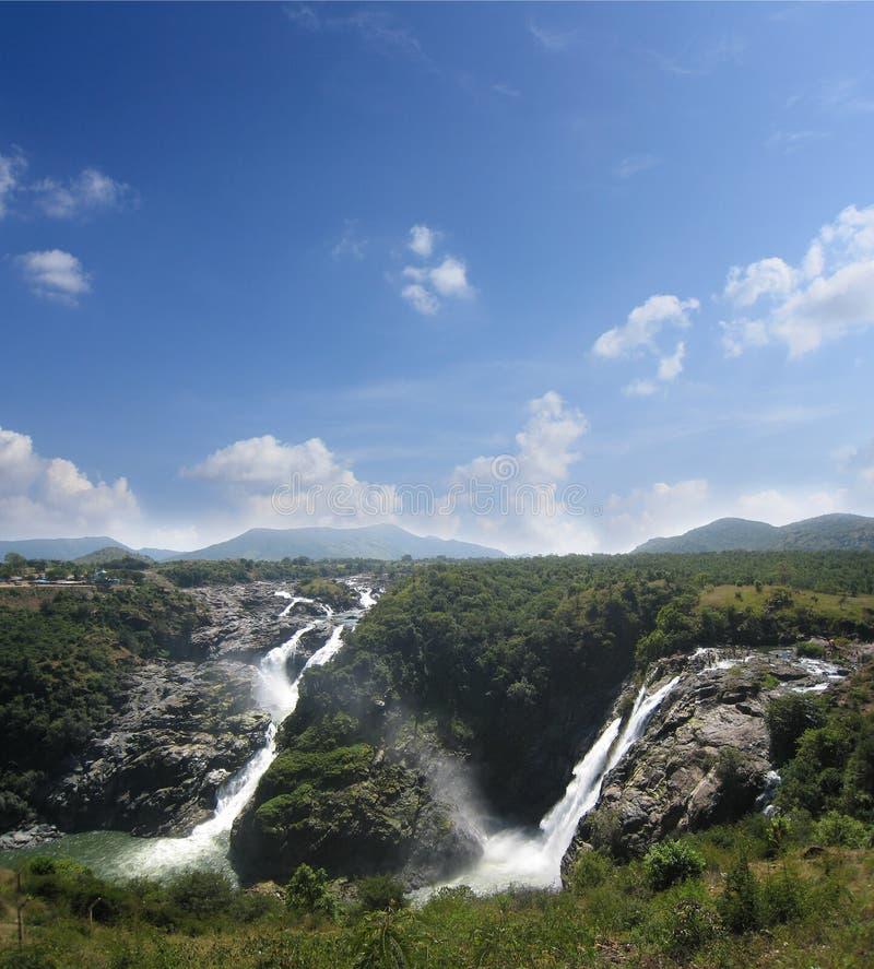 Sivasamudram Wasserfall, Fluss cauvery nahe Mysore lizenzfreies stockbild