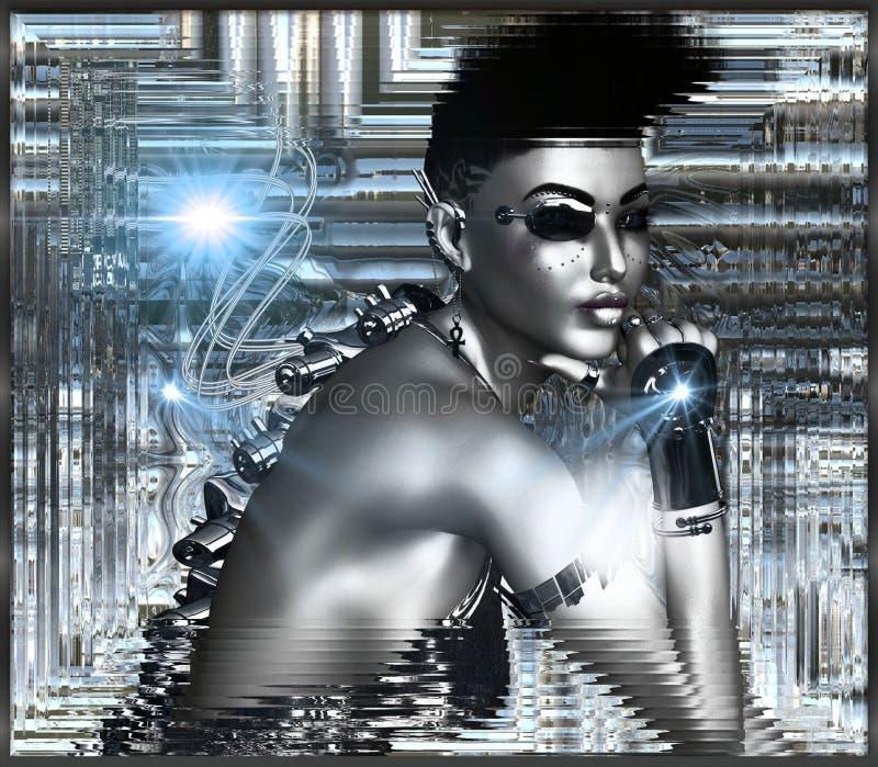 siver摘要背景的机器人女孩 向量例证